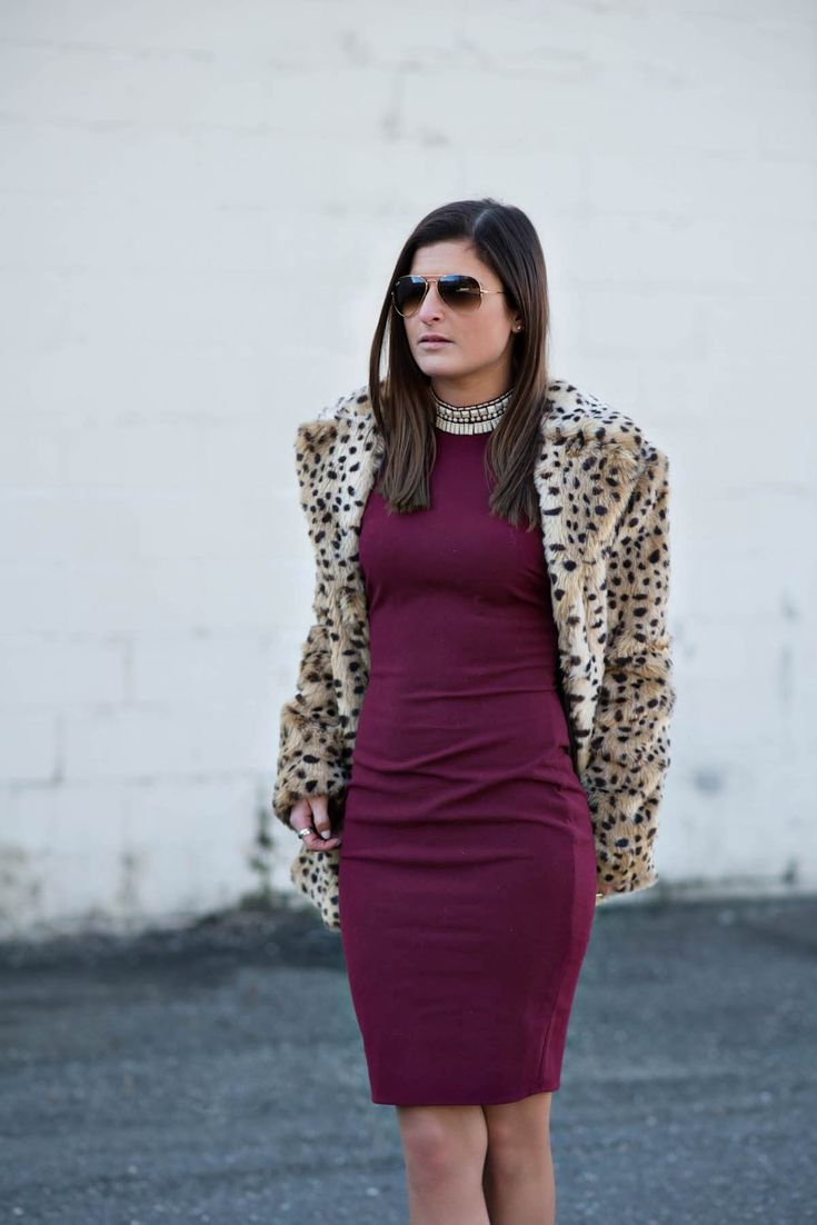 Set In Stone | Elizabeth & James rust embellished high-neck dress, Mango faux leopard fur coat, Vince Camuto beige ankle boots, nyc street style, winter fashion, winter outfit ideas, winter date outfit, fashion blogger #tobebright