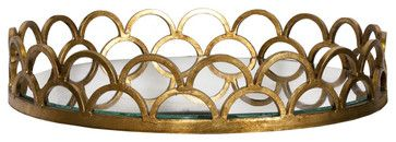 Worlds Away Evelyn Tray, Gold contemporary-serving-trays