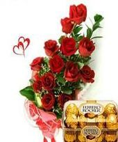 Midnight Sizzle: 15 Mixed Roses with Assorted Cadburys Chocolates Box (Midnight)