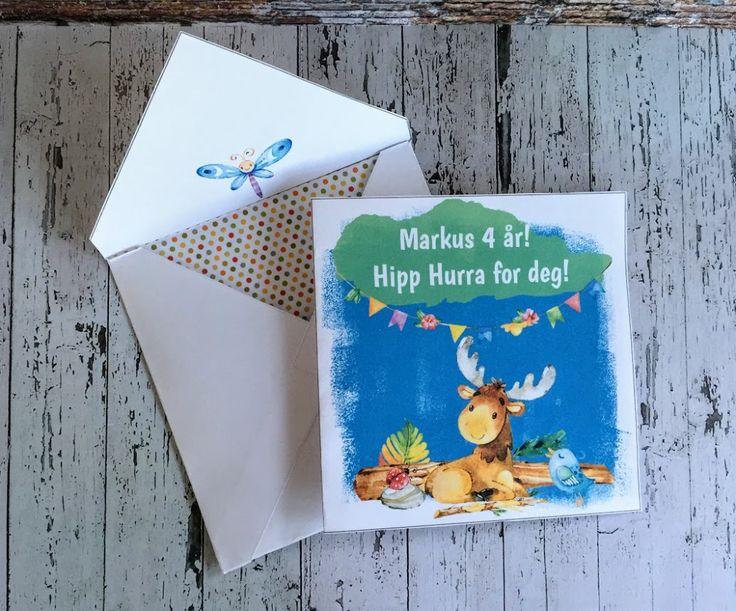 Tøffe Elga - barnekort med konvolutt og redigerbar tekst -