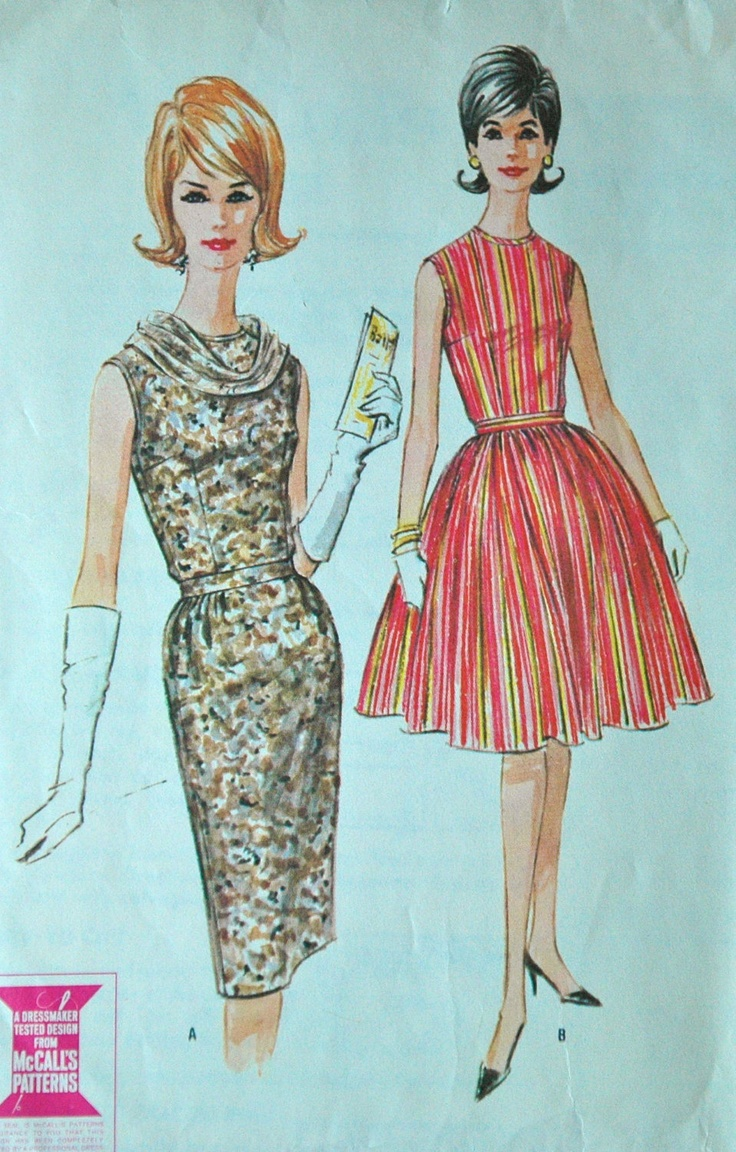 1960's McCall's Dress Pattern Bust 36 no 6756 by backroomfinds