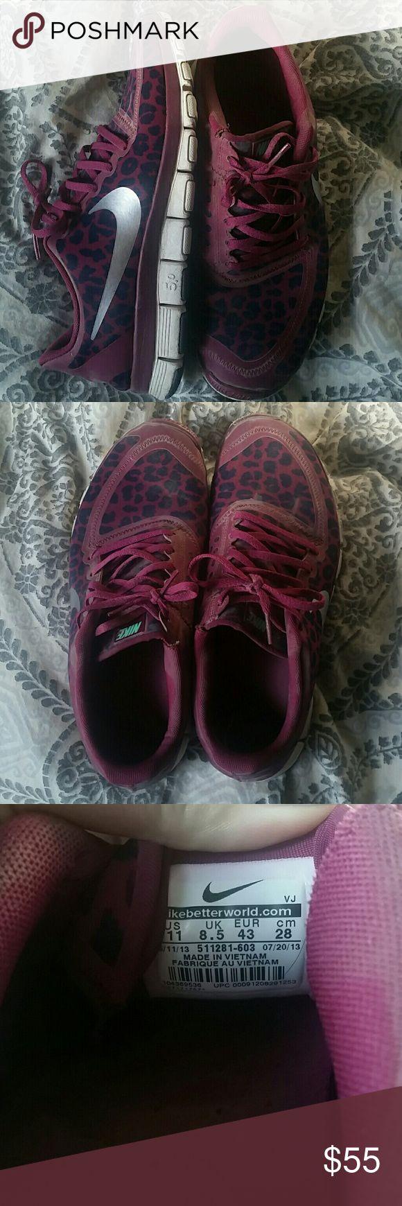 Nike Cheetah Print Shoes Purple Cheetah Print Nike's, worn a handful of times. Still in great condition. Smoke Free Home. Nike Shoes