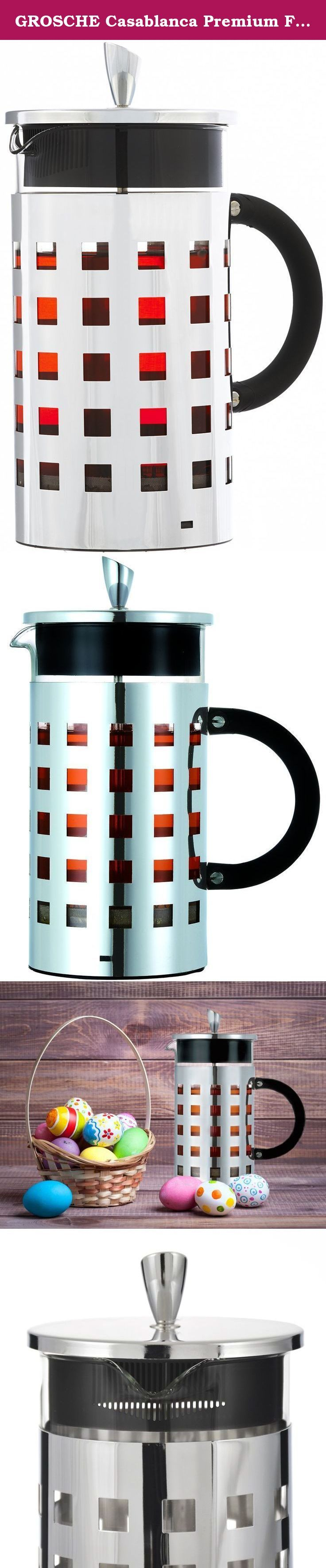 GROSCHE Casablanca Premium French Press 1000 ml / 8 Cup / 34 oz Capacity with All Stainless Steel Press Mechanism. Looking for Premium French Press Coffee and Tea maker, unlike anything your friends have? THE CASABLANCA FRENCH PRESS Quality you can see and feel! Brews the tastiest coffee and tea and gives a bold look and presence to your table top? That's the CASABLANCA French press coffee and tea maker by GROSCHE. A uniquely designed and crafted French press with fine chrome construction...