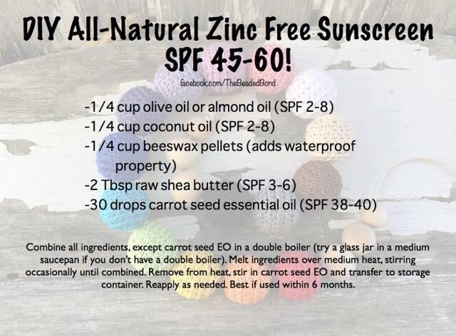 Sunscreen made with essential oils, zinc free Carrot seed oil