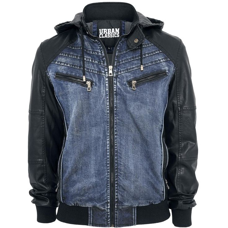Urban Classics  Jeans Jacket  »Hooded Denim Leatherlook Jacket« | Buy now at EMP | More Casual wear  Denim jackets  available online ✓ Unbeatable prices!