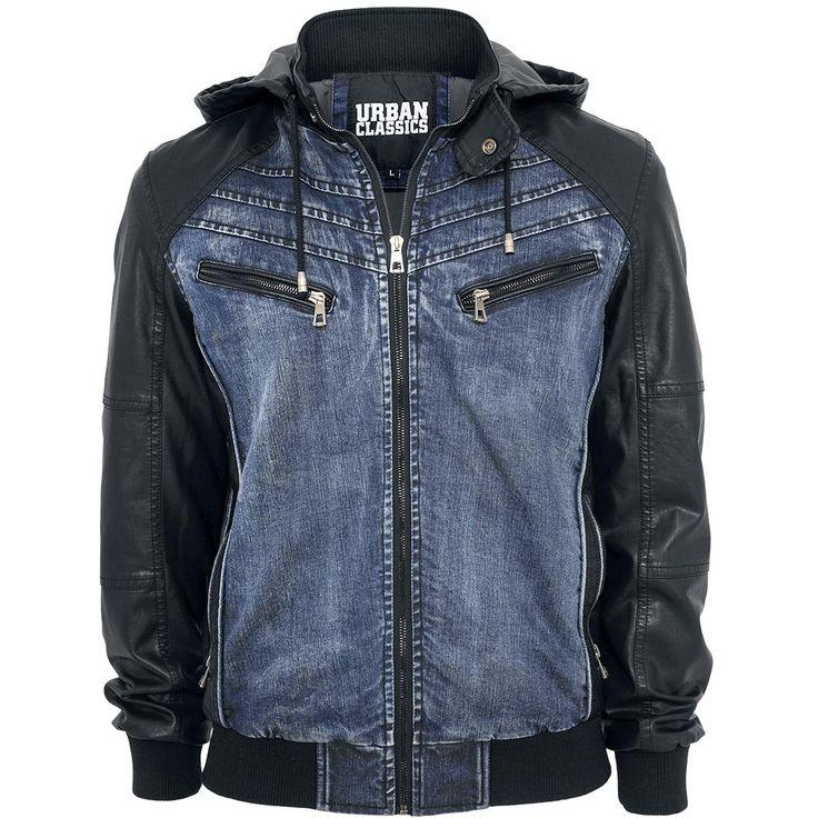 Urban Classics Džínsové rifle -Hooded Denim Leatherlook Jacket- -- Koupit nyní v EMP -- Více Neformální oblečení Džínsové bundy dostupných online - Nejlepší ceny!