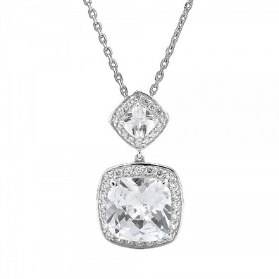 Silver and Some - Georgini Necklace, Misumi Clear CZ Necklace.  Crafted in rhodium plated sterling silver.