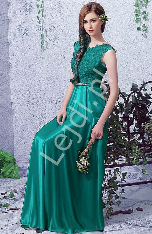 3352d22d35 Emerald long dress with lace. Dres for bridesmaids. Satynowa suknia  wieczorowa z koronkową górą