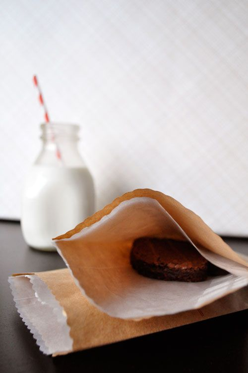 Line a brown paper bag with a glassine bag to make it extra nice + food safe!