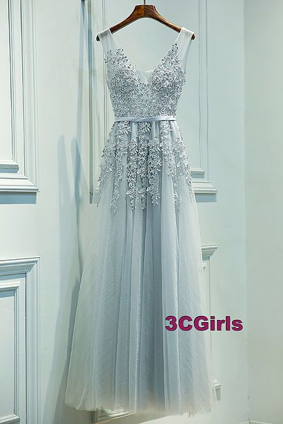 Cute v-neck light blue tulle prom dress with appliques                                                                                                                                                                                 More