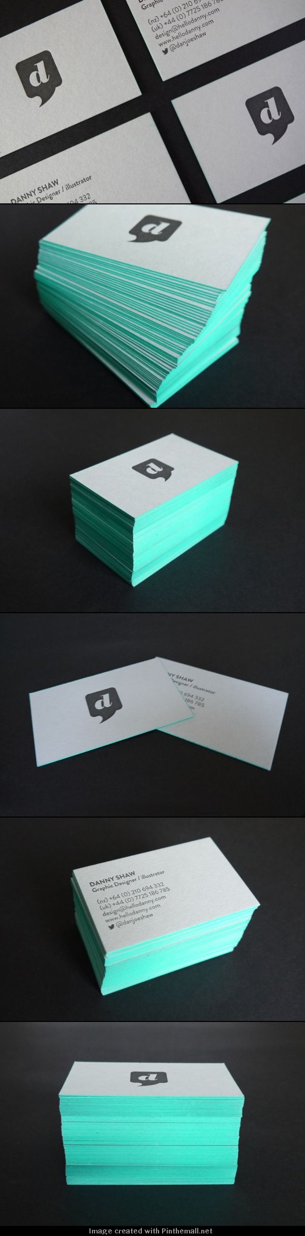 Simple, Letter Press, Edge Painted Business Cards. Logo on one side, info on other.