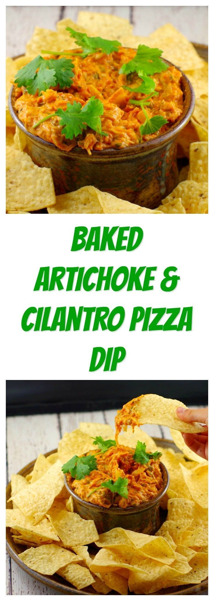 Baked Artichoke & Cilantro Pizza Dip | game day food - Foodmeanderings.comAdd a little sophistication to game day or any day with this Baked Artichoke and Cilantro Pizza Dipping sauce! Serve it with chips, bread, nachos or veggies! #dip #artichoke #artich