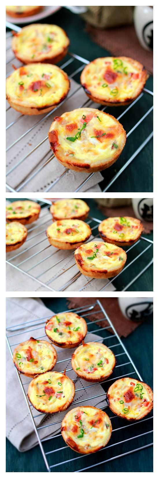 Mini Quiches. Super quick and easy with store-bought pie pastry but the filling is creamy, savory, rich, yummy and takes only 30 minutes.