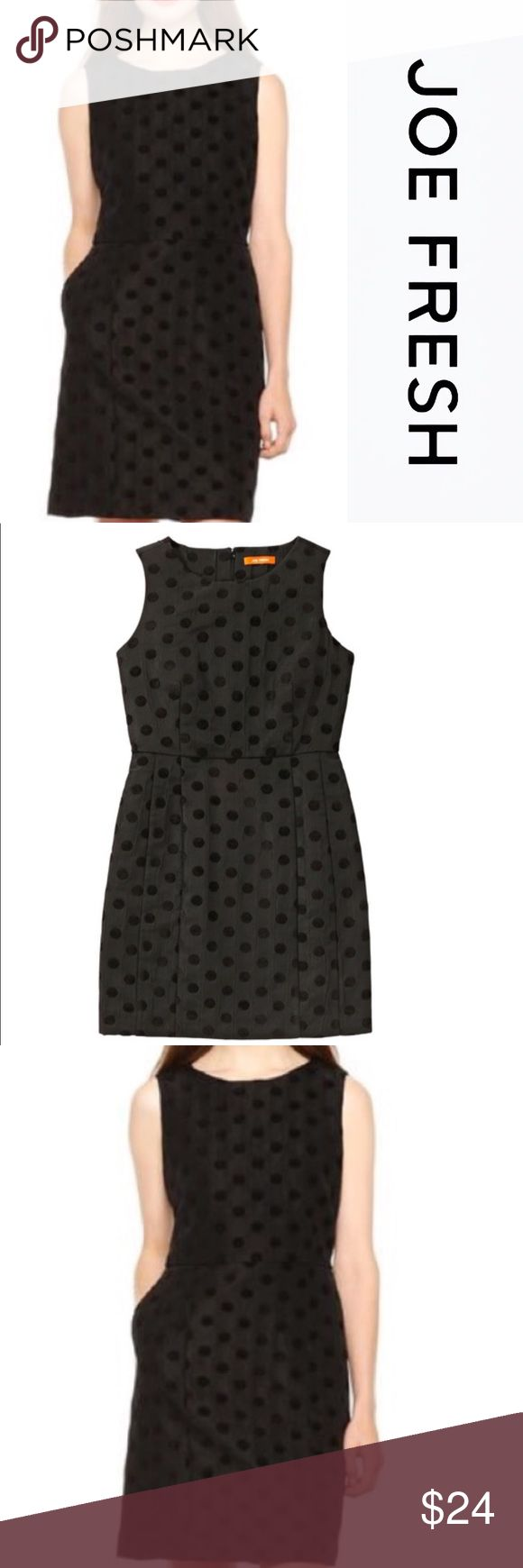 "NWT JOE FRESH RAYON POLKA DOT DRESS Perfect dress for a night out! Super easy to wear and to accessorize! Tone on tone, black, polka dot pattern throughout. Great quality, weighted. Approximately 36""L. Comes from a smoke free home. Bundle & save! Joe Fresh Dresses Midi"
