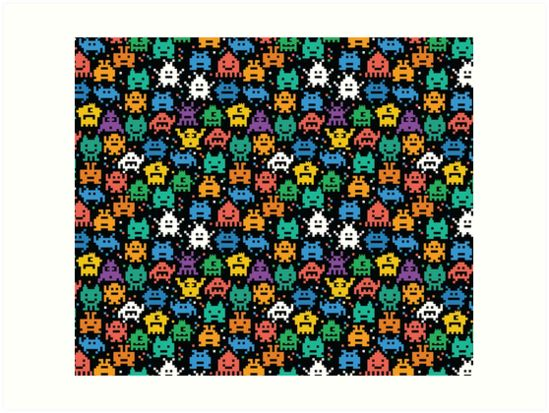 Pixelated Emoji Monster Pattern Illustration by Gordon White | Emoji Monster Extra Large Art Prints Available in 4 Sizes @redbubble --------------------------- #redbubble #emoji #emoticon #smiley #faces #cute #addorable #pattern #frame #print #artprint #wallart