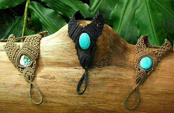 Check out this item in my Etsy shop https://www.etsy.com/au/listing/534406068/macrame-foot-adornments-foot-jewellery