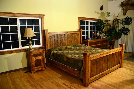 This queen or king headboad, footboard, and side rails is made of barnwood and alder. It has been sanded and stained, with a durable lacquer finish. This bed set is from our Dusty Roads Collection. Queen measurements: The headboard measures 60H x 72W x 6D. The foot board measures 36H x 72W x 6D. King measurements: The headboard measures 60H x 82W x 6D. The foot board measures 36H x 82W x 6D. This bed set includes side rails to securely hold your mattress. Nightstand sold separately. Mattr...
