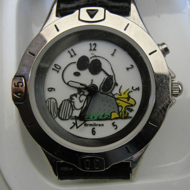 Armitron snoopy woodstock watch black leather band joe cool shades dark glasses shades black for Snoopy watches