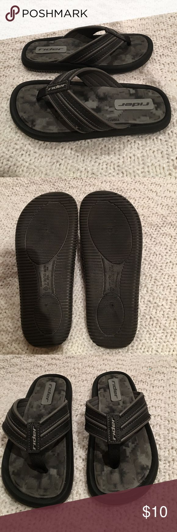 Boys Rider Flip Flops EUC condition.. I don't think they were ever worn.  They are stylish and comfortable with padding.  Made in Brazil.  There is a loose thread on the stitching on one of the sandals (see pic #4) which was there when I purchased them.  Size 3. Shoes Sandals & Flip Flops