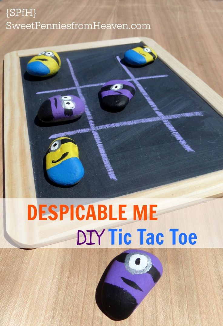 DESPICABLE ME - DIY Tic Tac Toe - Sweet Pennies from Heaven - rocks painted to look like adorable minions make a cute tic tac toe game for hours of fun!