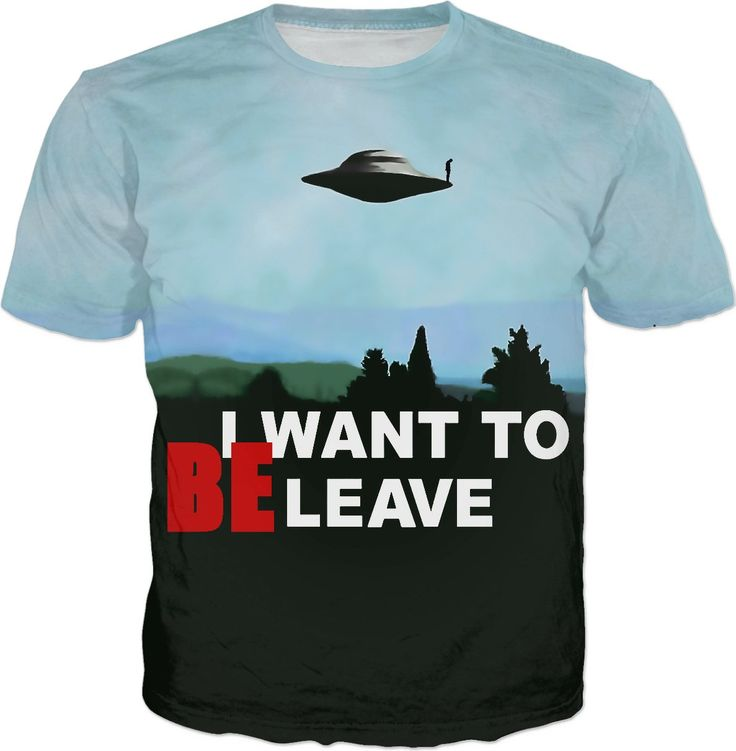 Because I want to be-leave... or believe? Ufo flying saucer poster tee shirt design, classic aliens series themed - for more art and design be sure to visit www.casemiroarts.com, item printed by RageOn at www.rageon.com/a/users/casemiroarts - also available at www.casemiroarts.com - This product is hand made and made on-demand. Expect delivery to US in 11-20 business days (international 14-30 business days). (time frames are aproximate) #shirts #clothing #style #unique #tees