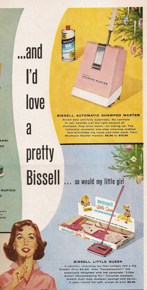 Vintage BISSELL Ad (I wonder if Rick would like a pink vacuum. I barely know how to use ours)