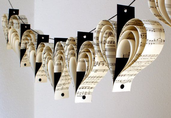 Recycled sheet music paper garlands made from unwanted copies of Bach's St Matthew's Passion