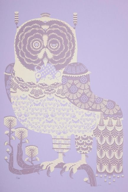 Bubo Scandiacus by Klaus Haapaniemi / silkscreen on lilac paper, print in cream and purple