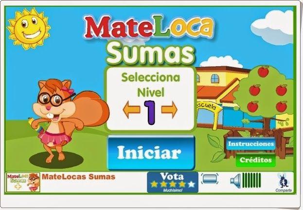 """""""Sumas"""", de cluboca.com,  es un atractivo juego en el que practicar sencillas sumas mentalmente. Con cuatro niveles de dificultad, aunque son todos muy sencillos, por lo que puede servir para Educación Infantil y 1º nivel de Educación Primaria."""