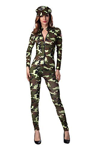 Dlsave Women Halloween Costume Front Zipper Camouflage Jumpsuit Cosplay Soldier Uniform (Large)