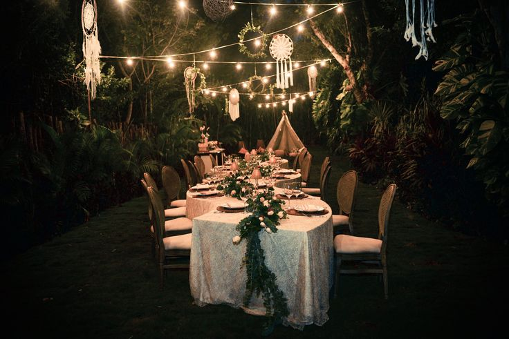Secrets Garden Reception here at Dreams Tulum Resort & Spa! #SecretGarden #DreamsTulum #FamilyStyleTable #TropicalWedding