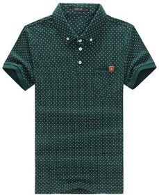 Dot шаблон кнопки дизайн с коротким рукавом м ~ 6XL размер Большой размер новое поступление мужская свободного покроя рубашки поло мода марка мужчины поло