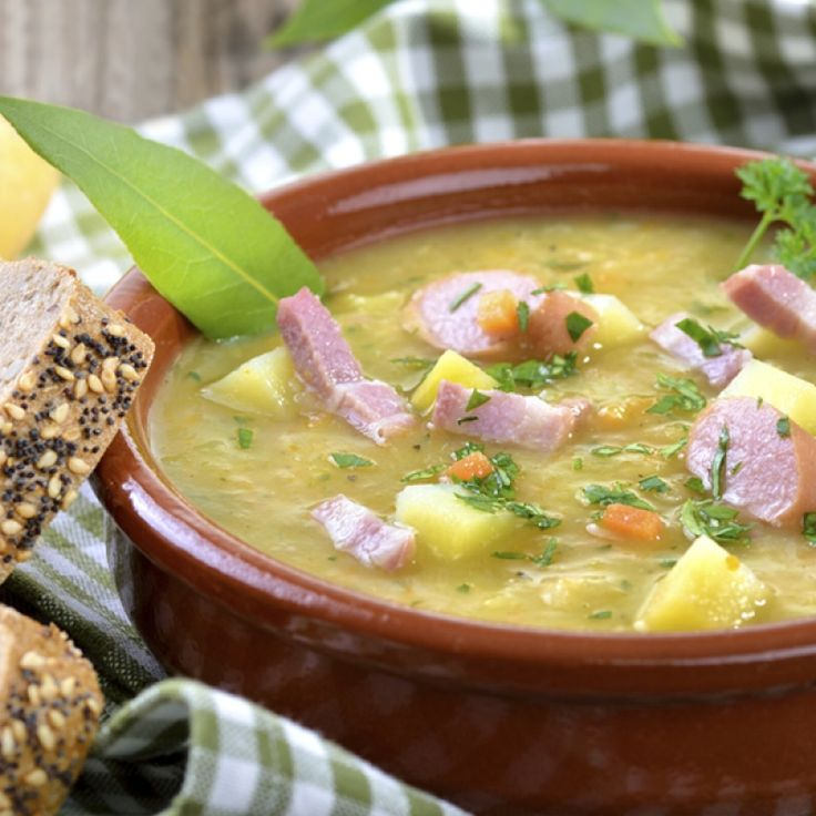 Split pea and potato soup is good old fashioned comfort food. Simple ...
