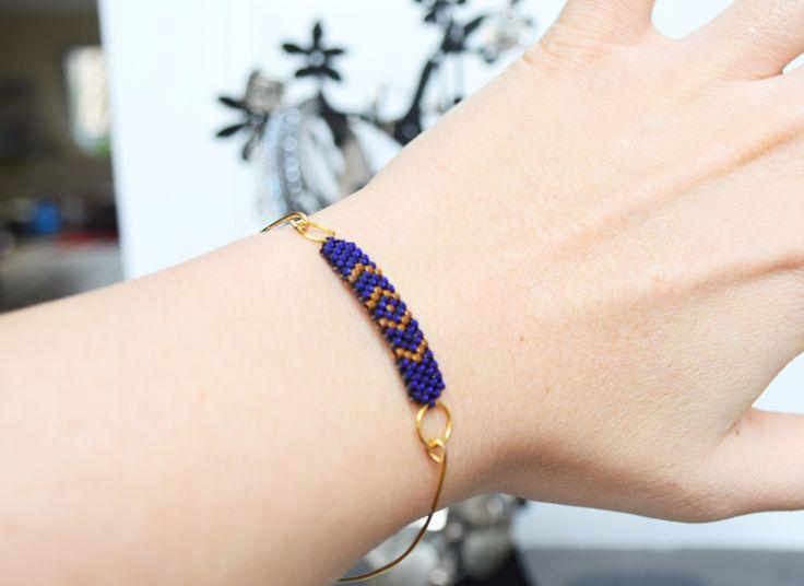 Bracelet perles violettes et or 24 carats Miyuki