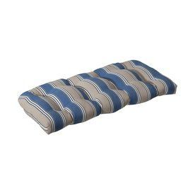 Pillow Perfect Beige Blue Striped Seat Pad For Loveseat 386300