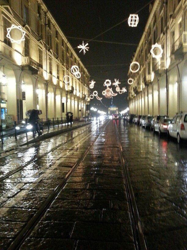 Torino. Via po. Luce di natale