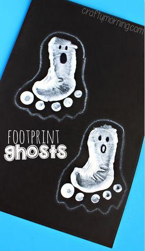 Footprint Ghost Craft - Fun and easy halloween craft for kids! | CraftyMorning.com