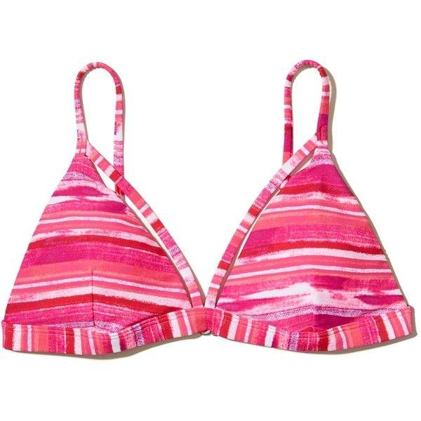 Hollister Strappy Triangle Bikini Top ($4.99) ❤ liked on Polyvore featuring swimwear, bikinis, bikini tops, pink print, strappy bikinis, strappy bikini top, patterned bikini, pink triangle bikini top and triangle bikini top