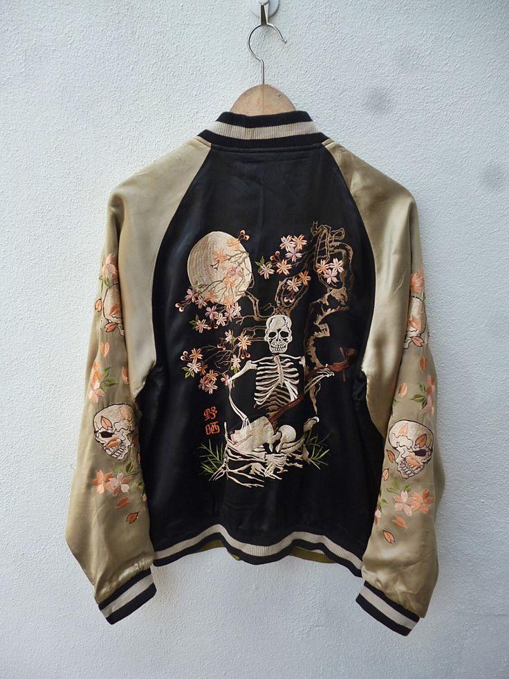 Rare Vintage 50s REVERSIBLE Japanese Skeleton Embroidery Bomber Jacket by THRIFTEDISABELLE on Etsy