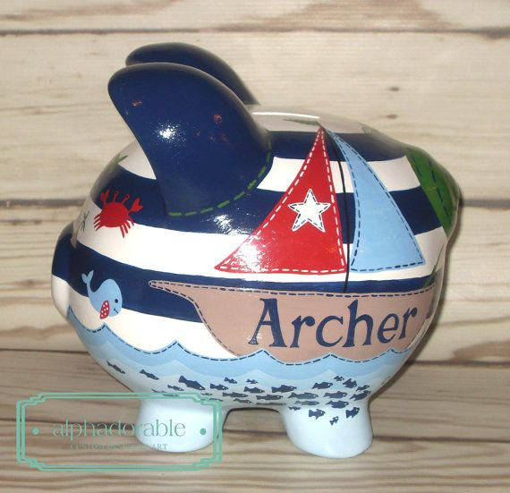 69 best images about custom hand painted piggy banks on pinterest nursery bedding mists and - Nautical piggy banks ...