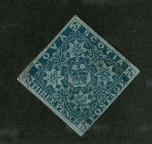Nova-Scotia-3-3d-Dark-Blue-1857-Pence-Issue-Crown-Flowers-VF-84-Used