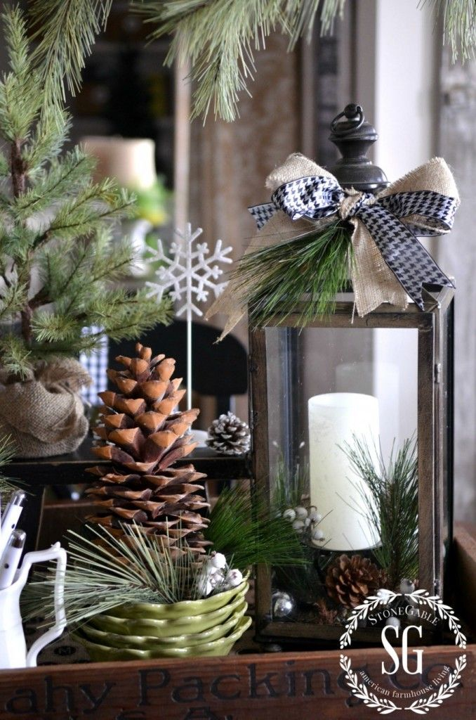 lantern with ribbons, candle, pine, large cone, burlap sack tree, white edged cones, wooden tray, black and white hounds tooth ribbon...Stone Gable signiture: