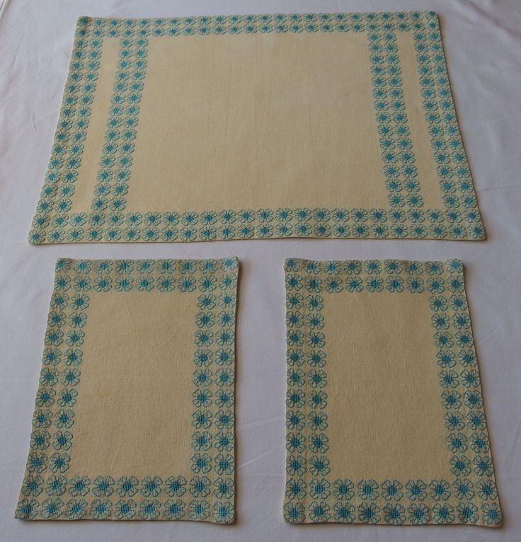 Vintage 3pcs Table Runner Doilies Embroidered Flowers Aquamarine Blue Cross stitch Set of 3 Tablecloth Table Topper Bordoures Floral by VintageHomeStories on Etsy