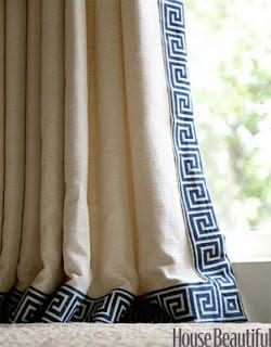 Get this very high end designer look on a budget by adding Greek key trim from M Trimming (under $10.00 a yard) to ready made curtains (Ikea, Pottery Barn, World Market, etc.).