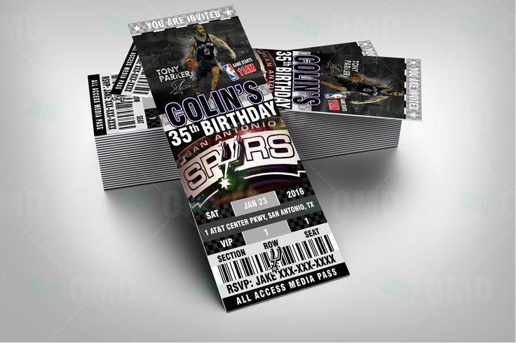 "San Antonio Spurs Sports Party Invitation, 2.5x6"" NBA Sports Tickets Invites, Spurs Basketball Birthday Theme Party by sportsinvites"