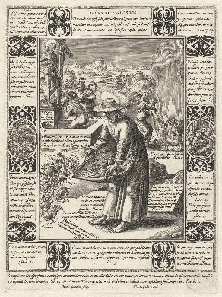 Hendrick Goltzius   Verlossing van het kwaad, Hendrick Goltzius, 1581 - 1633   Serie van twaalf allegorieën van het christelijke geloof. Elk van de allegorieën bestaat uit een centrale voorstelling met daaromheen een omlijsting waarin citaten uit de bijbel gecombineerd zijn met de verbeelding van bepaalde gebeurtenissen uit de bijbel. In de marge onderaan twee regels Latijn.