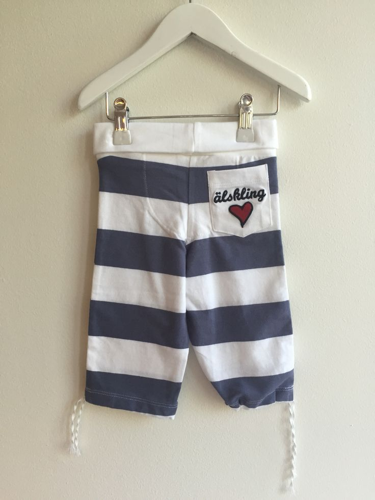 Striped Pants, cute pocket With Lundmyr heart. Made in 100 % cotton. Available in Size 0-2 years. AW baby fashion from LUNDMYR Of Sweden