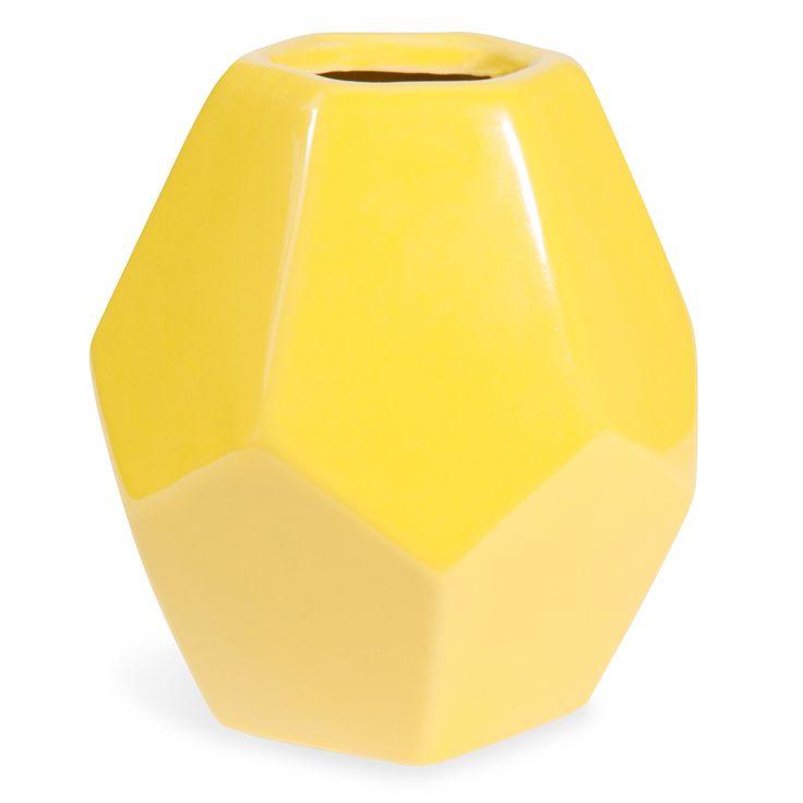 Gele vaas in keramiek H 21 cm ORIGAMI