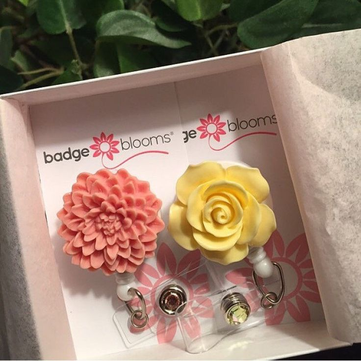 Customer appreciation photo submitted of Full Bloom Yellow Rose and Salmon Dahlia flower BadgeBlooms® - your source for Flower Badge Reels and unique nurse gifts!  www.badgeblooms.etsy.com