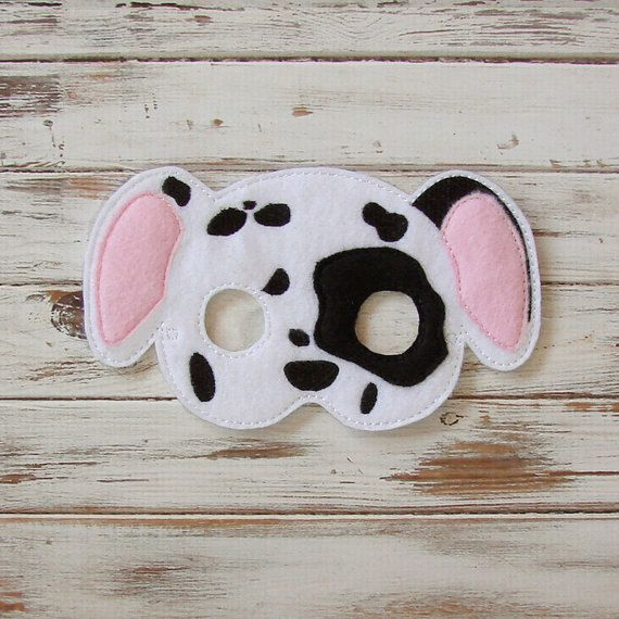Dalmation, Dog Mask, Puppy, Spotty Dog - Felt, Animal Mask, Dress Up, Halloween, Costume